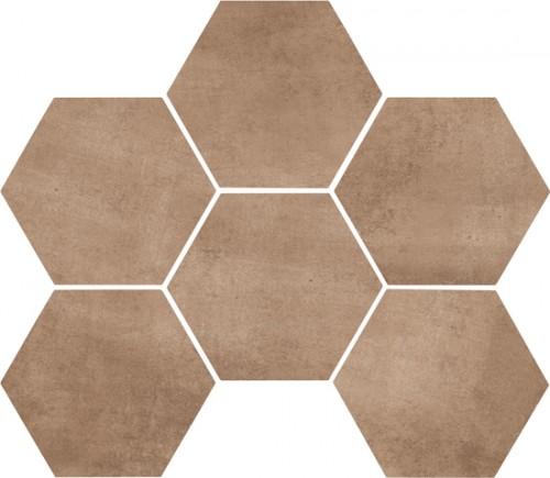 Vloertegels Ùnico, Earth hexagonaal, maat 18 x 21 cm. - 4422