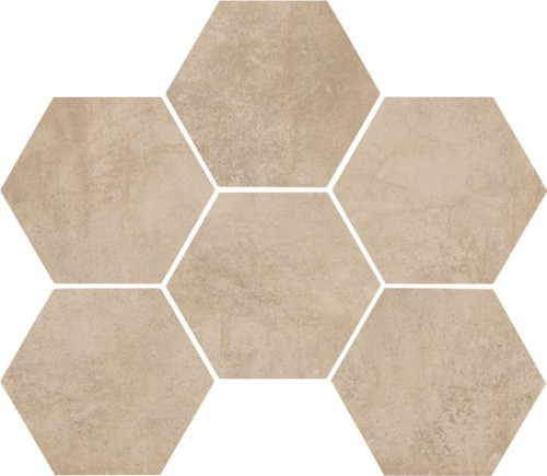 Vloertegels Ùnico, Sand hexagonaal, maat 18 x 21 cm. - 4424