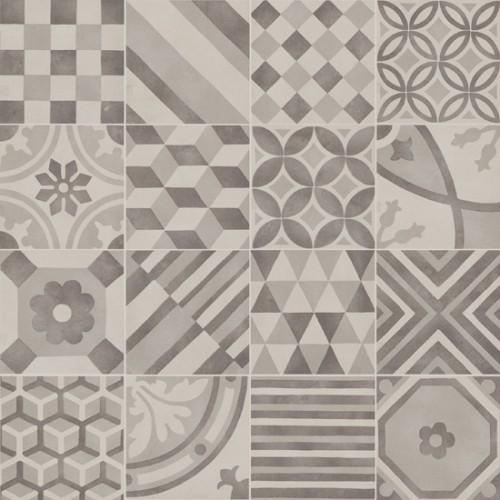 Patchwork tegels Ùnico, Mix silver, maat 15 x 15 cm. - 4431