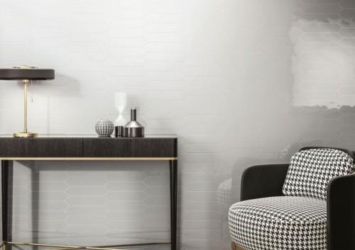 Wandtegels Ùnico Ascoli white, maat 6.5 x 33.2 cm. - 4931