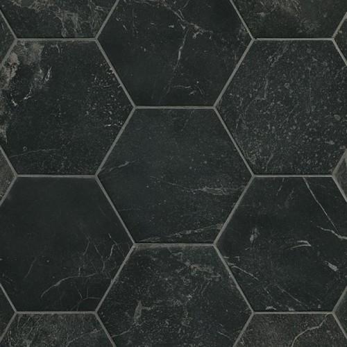 Vloertegels Ùnico, Hexagon Roma grafite, maat 21.6 x 25 cm. - 10048 (let op: alleen online verkrijgbaar)