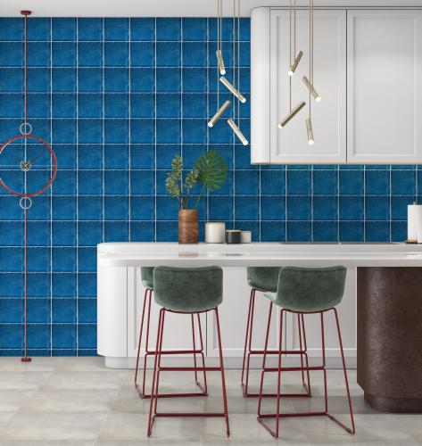 Wandtegels Ùnico Crystal Blue, maat 15 x 15 cm. - 4987