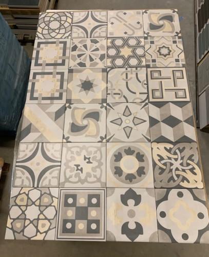 Vloertegels Ùnico, decoro cementine mix, maat 20 x 20 cm. - 5395
