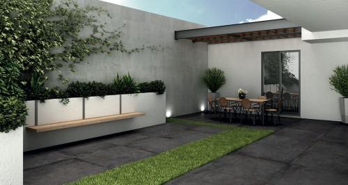 Terrastegels Abetone project nero, maat 100 x 100 x 2.0 cm. - 5465 (let op: alleen online verkrijgbaar)