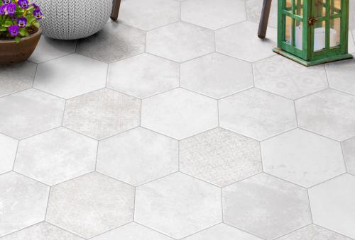 Vloertegels Hexagon pompeia decor blanco, maat 20 x 24 cm. - 10158 (let op: alleen online verkrijgbaar)