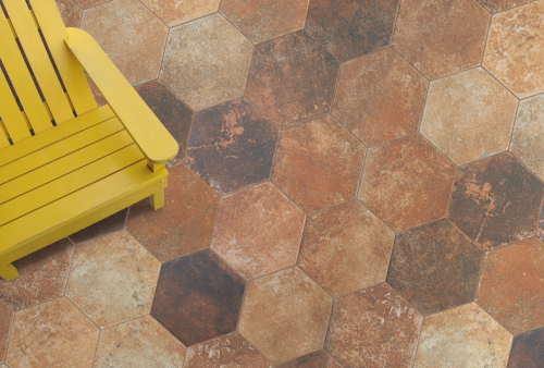Vloertegels Hexagon pompeia marron, maat 20 x 24 cm. - 10164 (let op: alleen online verkrijgbaar)